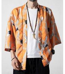chaqueta de punto con estampado de grúa blanca animal estilo chino retro de otoño para hombre