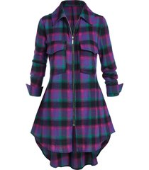 plus size plaid zip dual pocket tunic blouse