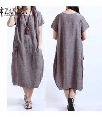 zanzea verano de las mujeres vestido sólido floja ocasional más el tamaño s-5xl de manga corta del o-cuello vestidos vestidos (café) -marrón