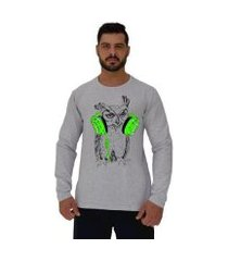 camiseta manga longa moletinho mxd conceito coruja de headset