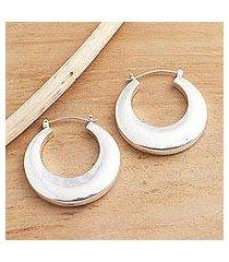 sterling silver hoop earrings, 'plain and curvy' (indonesia)