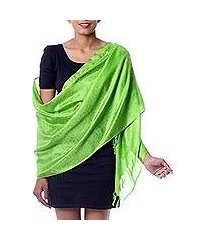 varanasi silk shawl, 'forever green' (india)