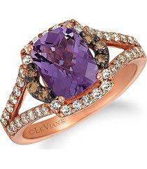 le vian women's 14k strawberry gold®, grape amethyst™, chocolate diamond® & nude diamond™ ring - size 7