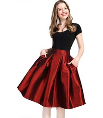burgundy midi pleated skirt women burgundy midi high waisted pleated party skirt