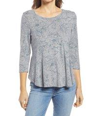 women's bobeau babydoll top, size x-large - blue