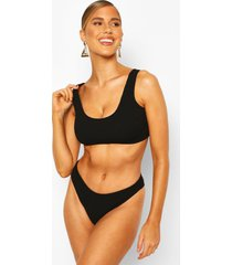 mix & match crinkle crop top, black