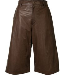 brunello cucinelli faux leather knee-length shorts - brown