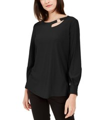 alfani petite cut-out blouse, created for macy's