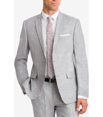 bar iii men's light gray chambray slim-fit jacket, created for macy's