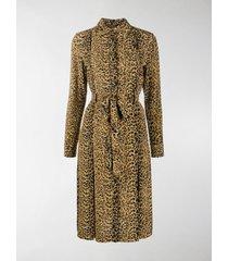 saint laurent leopard-print shirt dress