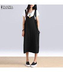 zanzea vestido sin mangas de camisa de algodón sin mangas con tirantes de verano para mujer overoles talla grande -negro