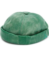 junya watanabe calf leather round cap - green
