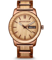 original grain men's whiskey barrel wood paired with espresso stainless steel bracelet watch 42mm