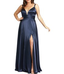 mac duggal empire waist satin gown, size 16w in navy at nordstrom