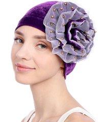cappello da esterno in velluto casual per berretti con cappuccio ampio fiore solido da donna