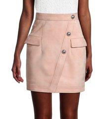 balmain women's suede pencil skirt - powdery pink - size 36 (4)
