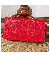 leather wallet, 'floral pattern in crimson' (mexico)