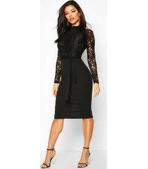 kanten midi jurk met lange mouwen en hoge hals, zwart