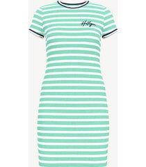 tommy hilfiger women's essential stripe t-shirt dress beach glass / white - xxs