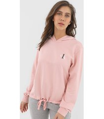 moletom fechado calvin klein underwear logo rosa - rosa - feminino - algodã£o - dafiti