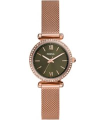 fossil women's carlie mini rose gold-tone mesh watch 28mm