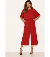 ax paris women's tie waist culotte jumpsuit