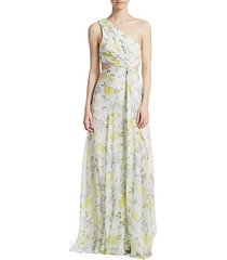 goldie one-shoulder floral silk gown