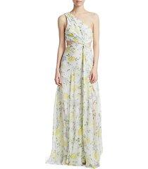 goldie one-shoulder floral silk gown