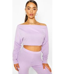 off shoulder cropped sweat top, lilac