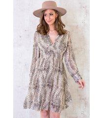 cheetah jurk dames beige