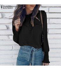 zanzea para mujer casual de las señoras del botón blusa de la gasa de down elásticos puños de camisas tops -negro