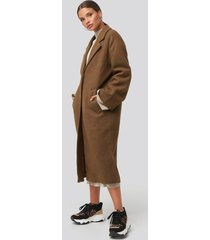 na-kd big button long coat - brown