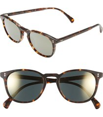 oliver peoples 'finley' 51mm polarized sunglasses in brown/tortoise/gold polar at nordstrom