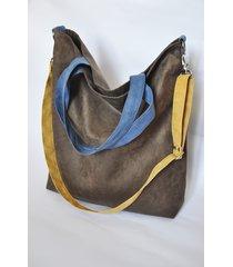 torba hobo xxl - brąz, niebieski, żółty