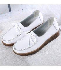 bowknot slip on flat scarpe bianche casual