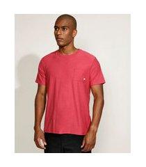 camiseta masculina com bolso manga curta gola careca vermelho claro