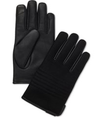 calvin klein men's melton faux-leather touchscreen gloves