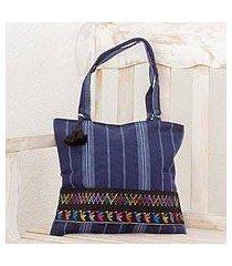 cotton shoulder bag, 'tactic stripes on navy' (guatemala)