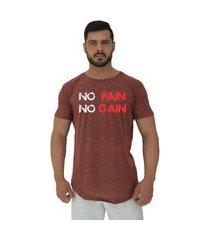 camiseta longline alto conceito no pain no gain sem dor sem ganho nuno marrom