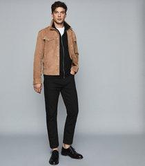 reiss max - zip through polo shirt in black, mens, size xxl