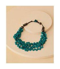 colar de resina - colar frança cor: verde - tamanho: único