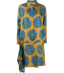 odeeh drop waist printed shirt dress - blue
