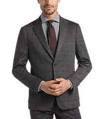 suitor charcoal plaid knit slim fit suit separates coat