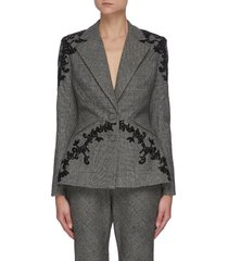 embroidered plaid blazer