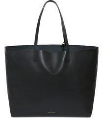 mansur gavriel oversize lambskin leather tote - black