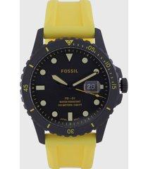 reloj amarillo-negro fossil