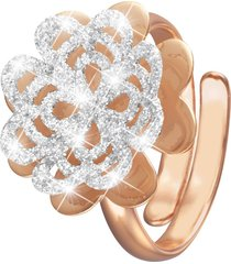 anello regolabile quadrifoglio in ottone rosato e glitter per donna