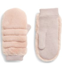women's ugg faux fur mittens, size small/medium - pink