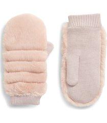 women's ugg faux fur mittens, size small/medium - pink