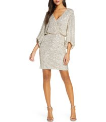 women's eliza j sequin blouson cocktail dress